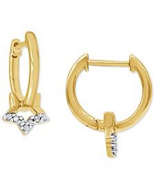 Diamond Star Dangle Hoop Earrings (1/20 ct. t.w.) in 10k Gold