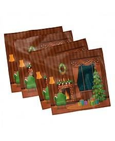 "Fireplace Set of 4 Napkins, 12"" x 12"""