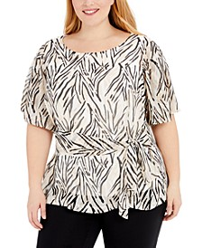 Plus Size Printed Tie-Waist Top, Created for Macy's