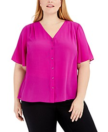 Plus Size Button-Front Flutter-Sleeve Top, Created for Macy's
