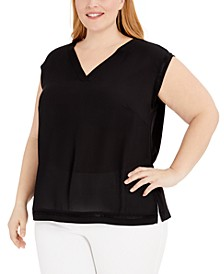 Plus Size V-Neck Shell Top, Created for Macy's