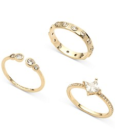 Gold-Tone 3-Pc. Set Crystal Rings