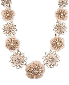 """Gold-Tone Crystal & Imitation Pearl Flower Statement Collar Necklace, 16"""" + 2"""" extender"""