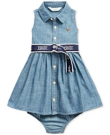 Baby Girls Chambray Dress & Bloomer