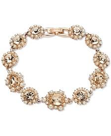 Rose Gold-Tone Crystal & Imitation Pearl Cluster Flex Bracelet
