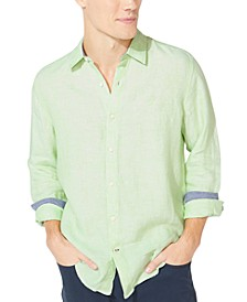 Men's Classic-Fit Solid Linen Shirt