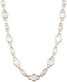 "Gold-Tone Mother-of-Pearl Collar Necklace, 16"" + 3"" extender"