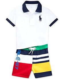 Baby Boys Polo Shirt & Fleece Shorts Set
