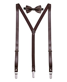 Men's Suede Leather Suspenders Bow Tie Set