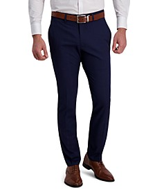 Men's Slim-Fit Stretch Glen Plaid Flex Waistband Dress Pants