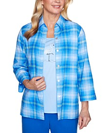 Women's Missy Laguna Beach Plaid Two For One Shirt