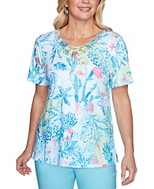 Sea You There Coral Reef Lace-Yoke Printed Top