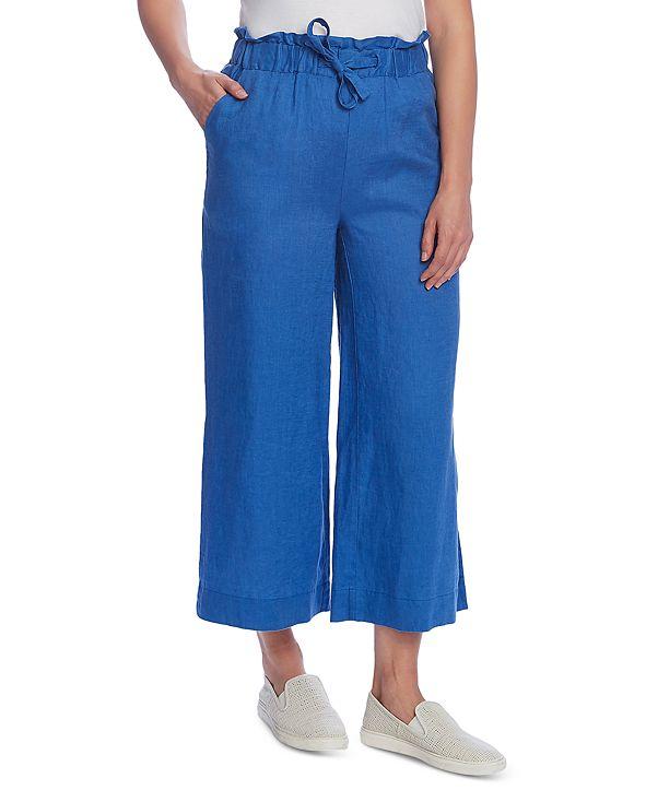 Vince Camuto Linen Wide-Leg Side-Slit Pants