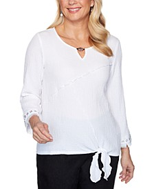 Checkmate Tie-Front Bubble-Gauze Woven Top