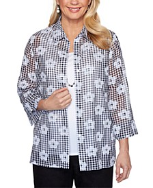 Checkmate Embellished Layered-Look Top
