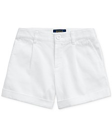 폴로 랄프로렌 Polo Ralph Lauren Toddler Girls Embroidered Cotton Chino Shorts,White