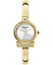 Women's Swiss Gancini Rose Gold-Tone Stainless Steel Bangle Bracelet Watch 22mm