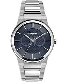 Men's Swiss Sapphire Stainless Steel Bracelet Watch 41mm