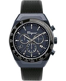 Men's Swiss Chronograph SLX Black Caoutchouc Rubber Strap Watch 43mm