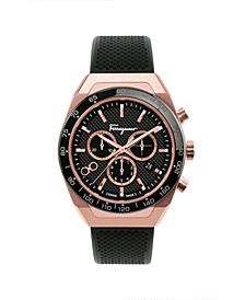 Men's Swiss Chronograph SLX Black Caoutchouc Rubber Strap 43mm