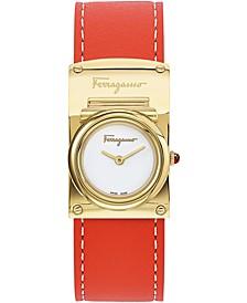 Women's Swiss Boxyz Orange Leather Strap Watch 23X39mm