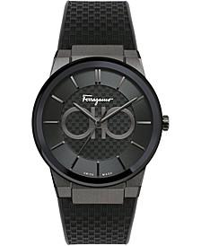 Men's Swiss Sapphire Black Caoutchouc Rubber Strap Watch 43mm