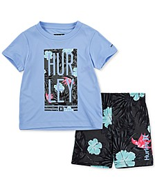 Toddler Boys 2-Pc. Floral Logo Rash Guard Set