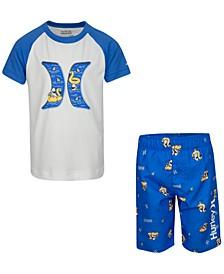 Little Boys 2-Pc. Shark Rash Guard Set