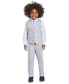 Little Boys 4-Pc. Windowpane Vest Set