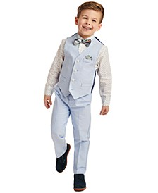Little Boys 4-Pc. Blue Oxford Vest Set