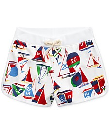 폴로 랄프로렌 Polo Ralph Lauren Big Girls Sailboat-Print Cotton French Terry Shorts,White Multi