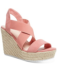 Rosewod Stretch Platform Wedge Sandals