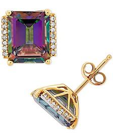 Mystic Topaz (5-3/4 ct. t.w.) & Diamond (1/10 ct. t.w.) Stud Earrings in 14k Gold
