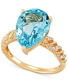 Blue Topaz (6-1/4 ct. t.w.) & Diamond (1/10 ct. t.w.) Ring in 14k Gold