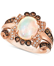 Neopolitan Opal (1-1/5 ct. t.w.) & Diamond (3/8 ct. t.w.) Statement Ring in 14k Rose Gold