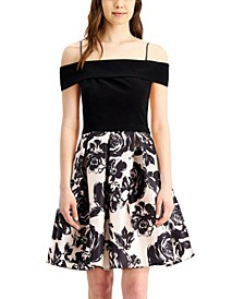 Juniors' Off-The-Shoulder Floral Fit & Flare Dress