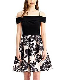 Juniors' Off-The-Shoulder Floral Fit & Flare Dress