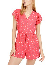 Dot-Print Drawstring-Waist Romper, Created for Macy's