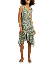 Style & Co Plus Size Printed Handkerchief Hem Dress, Created for Macy's