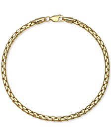 Rounded Box Link Chain Bracelet in 14k Gold