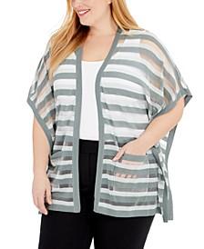 Plus Size Sheer-Stripe Cardigan