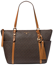 Michael Michael Kors Signature Nomad Large Top Zip Leather Tote