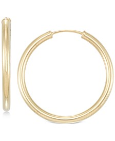 Small Highly Polished Flex Hoop Earrings in 14k Gold