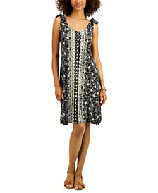Style & Co Printed Tie-Shoulder Dress, Created for Macy's