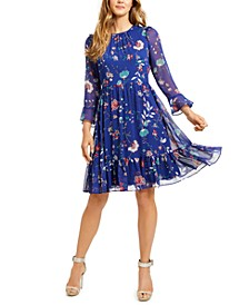 Printed Chiffon A-Line Dress