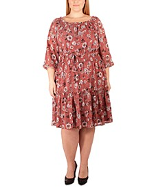 Plus Size Smocked Peasant Dress