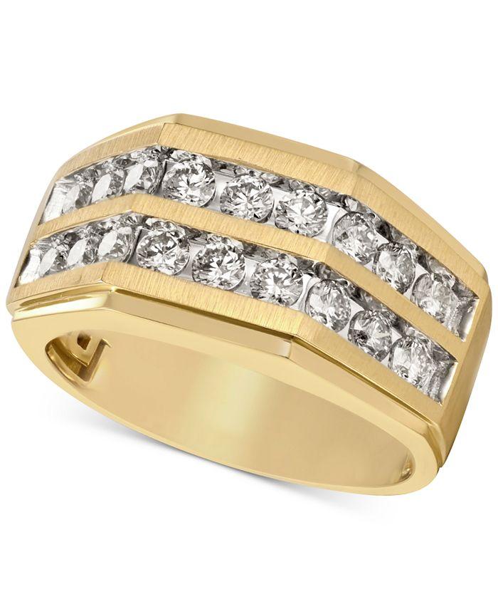 Macy's - Men's Diamond Two-Row Ring (1-1/2 ct. t.w.) in 10k Gold