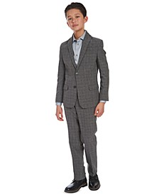 Big Boys Slim-Fit Poplin Shirt & Stretch Windowpane Suit Separates