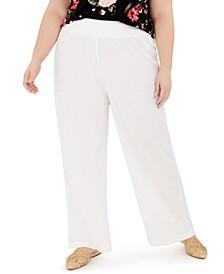 Trendy Plus Size Smocked Wide-Leg Pants
