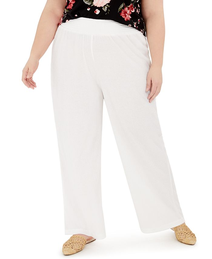 FULL CIRCLE TRENDS - Trendy Plus Size Smocked Wide-Leg Pants